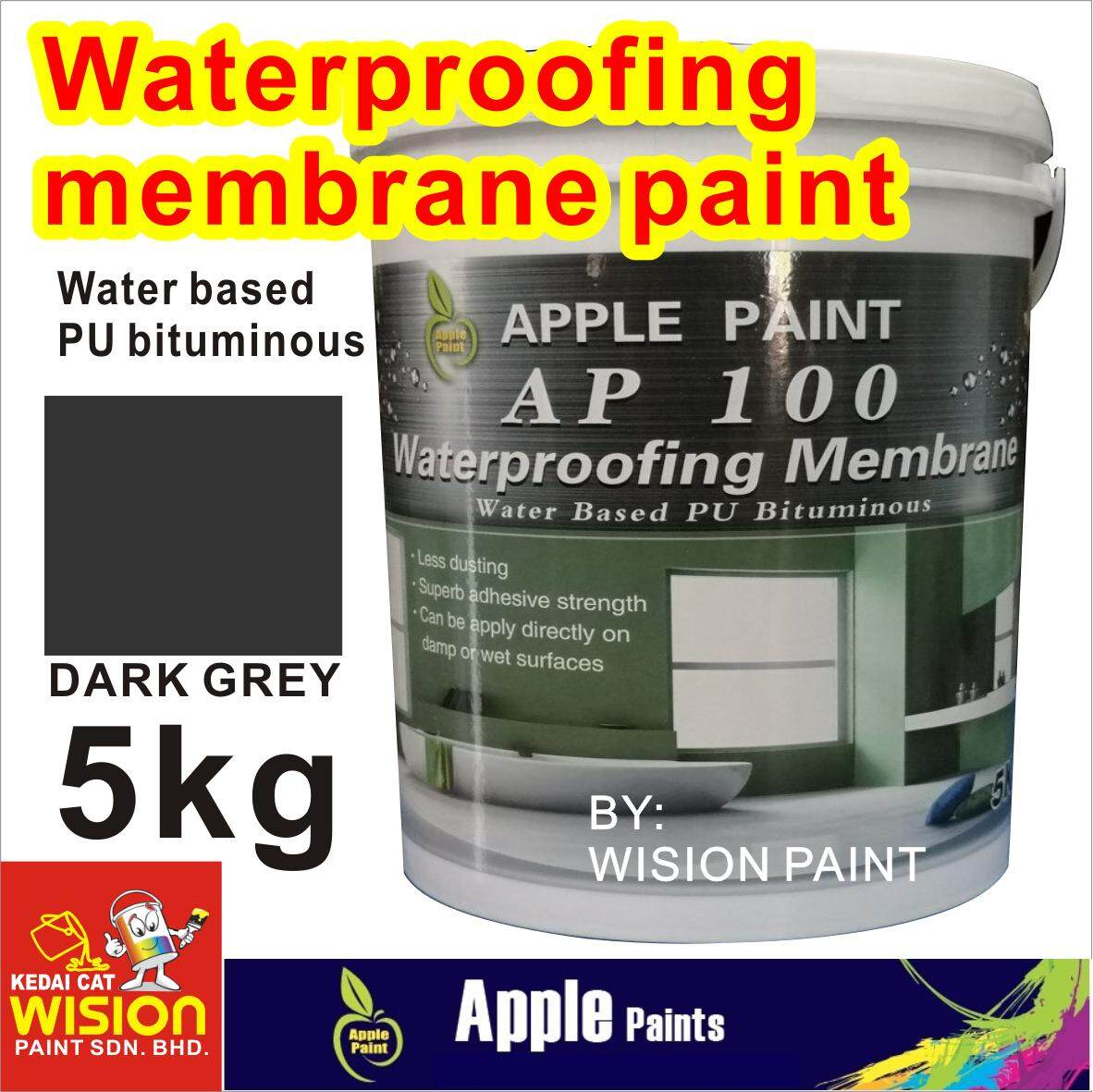 AP 100 WATERPROOFING MEMBRANE ( 5KG ) WATER BASED PU BITUMINOUS LESS DUSTING SUPERB ADHESIVE STRENGTH CAN BE APPLY DIRECTLY ON DAMP OR WET SURFACES APPLE PAINT
