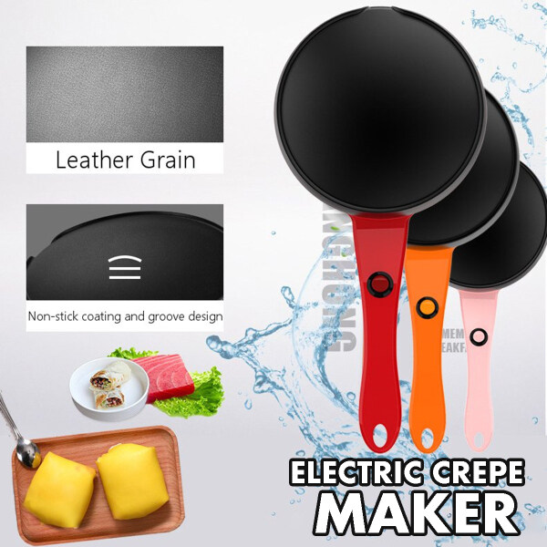 18cm Electric Crepe Maker Non Stick Baking Pancake Frying Griddle Machine + Tray