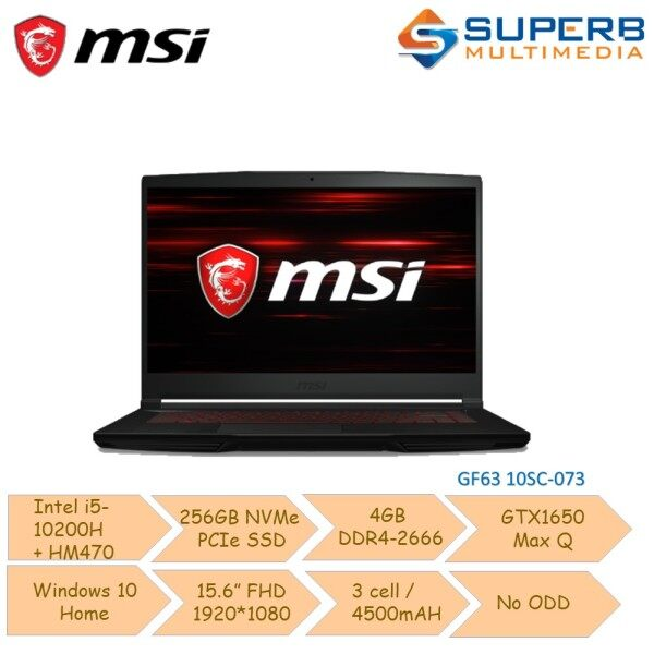 MSI GF63 10SC-073 [9S7-16R512-073] [i5-10200H+HM470/256GB SSD/4GB Ram/GTX1650 Max Q] Notebook Malaysia