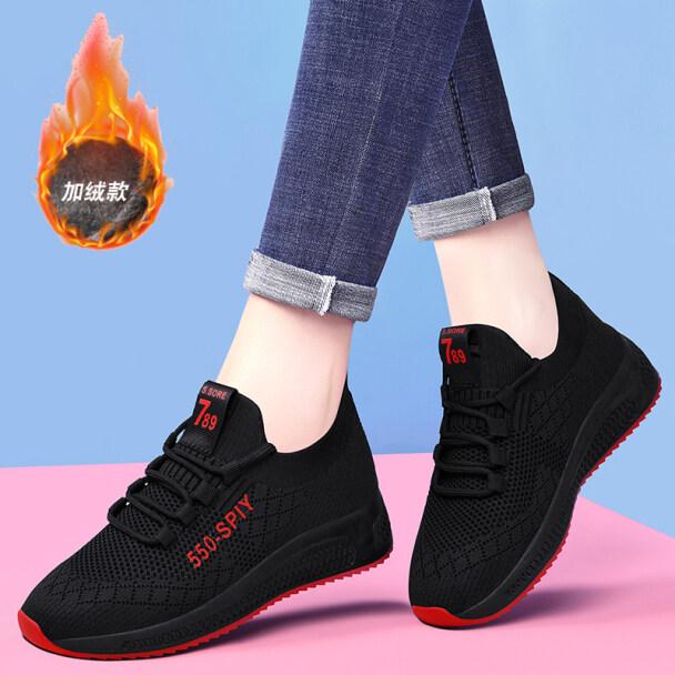 Đen Giày Cũ Giày Thể Thao Nữ Thời Thượng Ins Giày Chạy Bộ Thường Ngày Mới Mùa Thu Đông 2020 Chất Liệu Nhung Trọng Lượng Nhẹ Mềm Duy Nhất giá rẻ