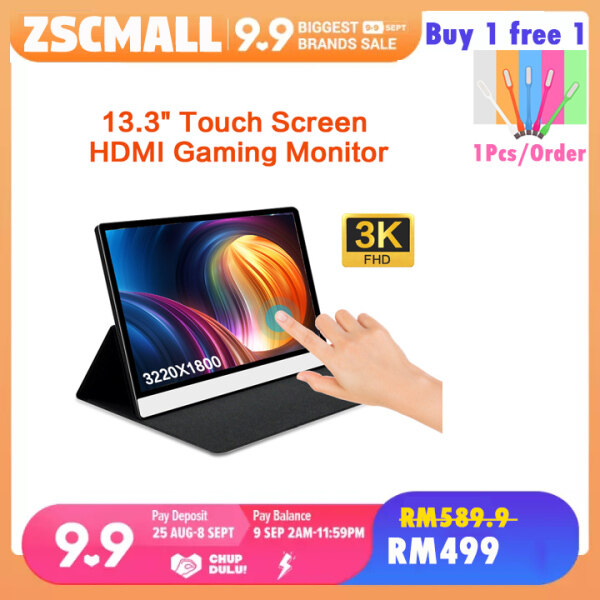 HONGO 13.3 inch 1080P/3k Touchscreen Portable Monitor  USB C Monitor FHD Eye Care Gaming Screen IPS HDMI Type C OTG DP Dual Speakers ,  Smart Cover Stand Malaysia
