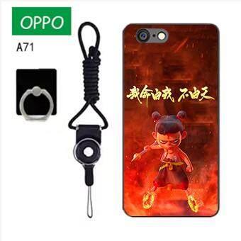 Untuk OPPO A71 Case Telepon Lembut Silikon Pelindung Belakang Bergambar Casing Karet dengan Tali & Cincin 3in1 Q4 波妞