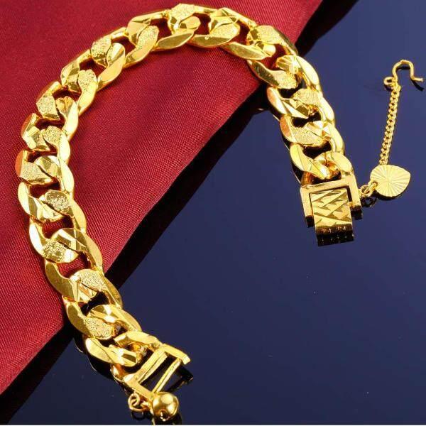 JINJU 24K Gold Filled Bracelets 12MM Not Fade Best Gift For Men And Women Top Fashion Link,Copper Fine Jewelry