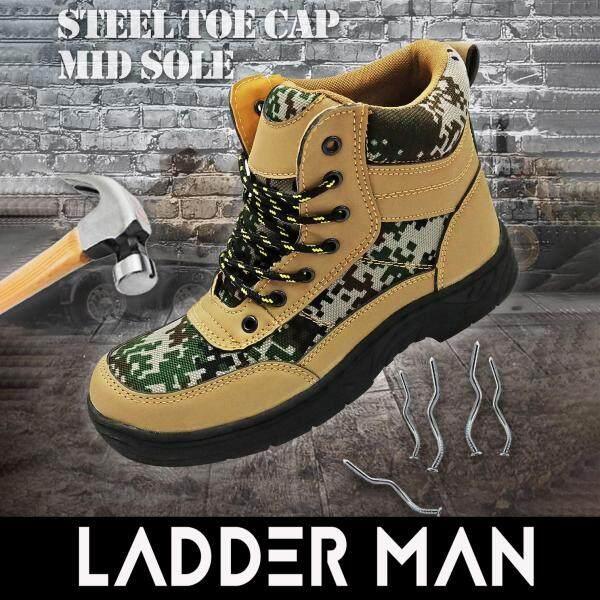Ladderman Steel Toe Cap Midsole Medium Cut PU Sole Velvet Camouflage Military Safety Shoe Safety Boots