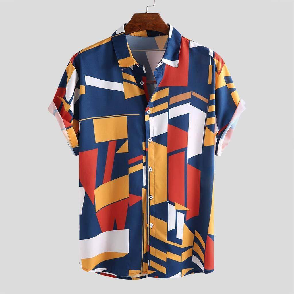 dc7acc0c7 Sunshine Country Mens Contrast Color Geometric Printed Turn Down Collar Short  Sleeve Loose Shirts