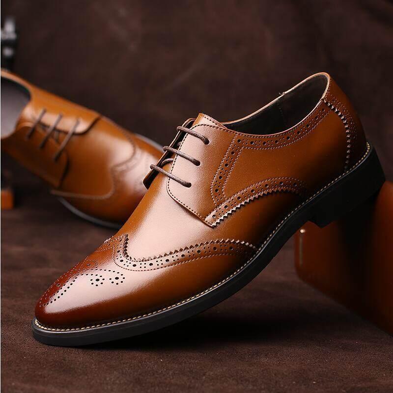 Casual Italian Genuine Leather formal shoes men erkek ayakkabi elegant derby brogue wedding shoes mens oxford pointed toe dress shoes