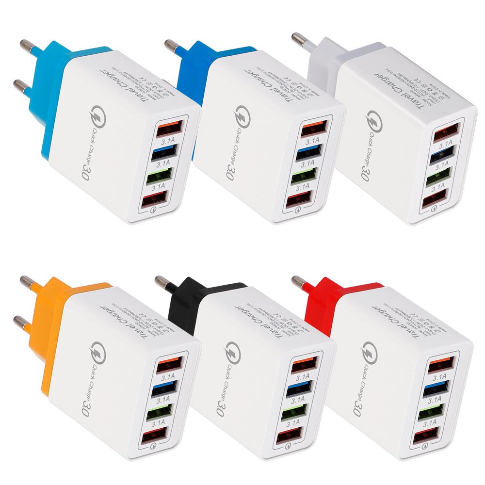 Bộ Sạc Nhanh QC3.0 18W Nhiều Màu, Bộ Chuyển Đổi Nguồn 5V 3.1A Với Cáp Dữ Liệu 4USB Cho Samsung Redmi Note 7 VIVO iPhone OPPO – EU