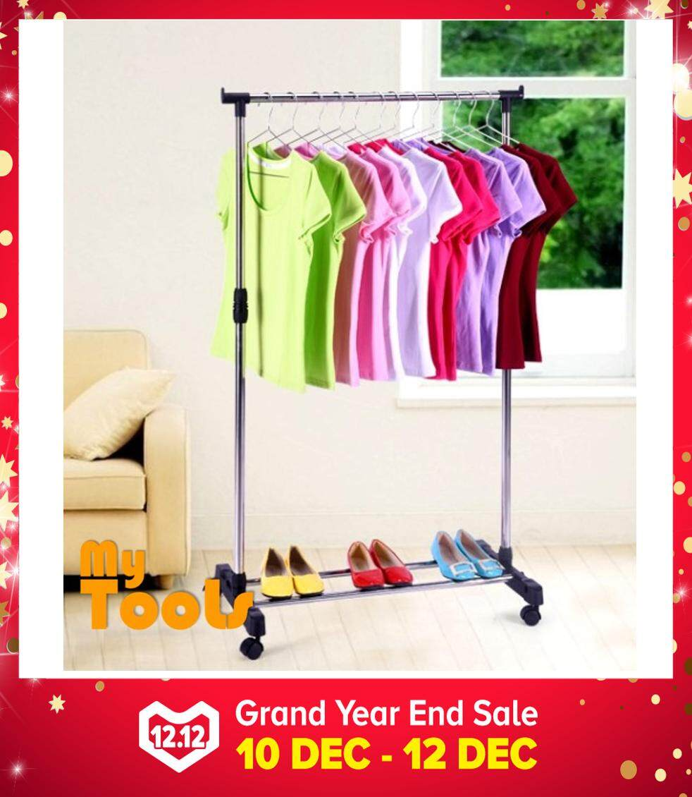 Mytools Single Adjustable Stainless Steel Garment Hanger Clothes Hanger Drying Shoes Rack W Wheels By Mytools Marketing.
