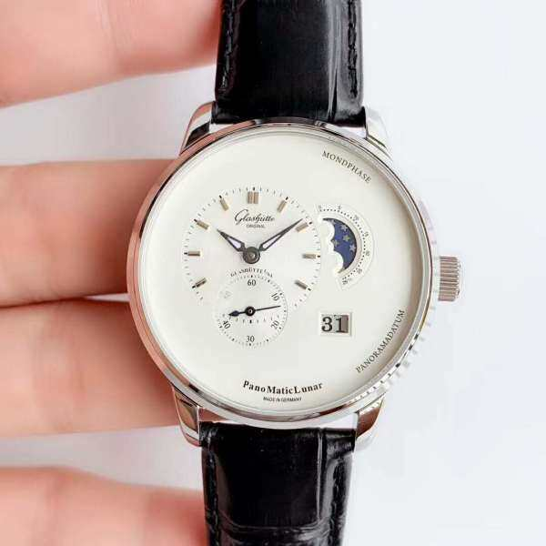 GK814 TZ Factory Glashuttes PanoMaticLunar 1-90-02-42-32-05 SS White Dial Swiss 90-02 Malaysia