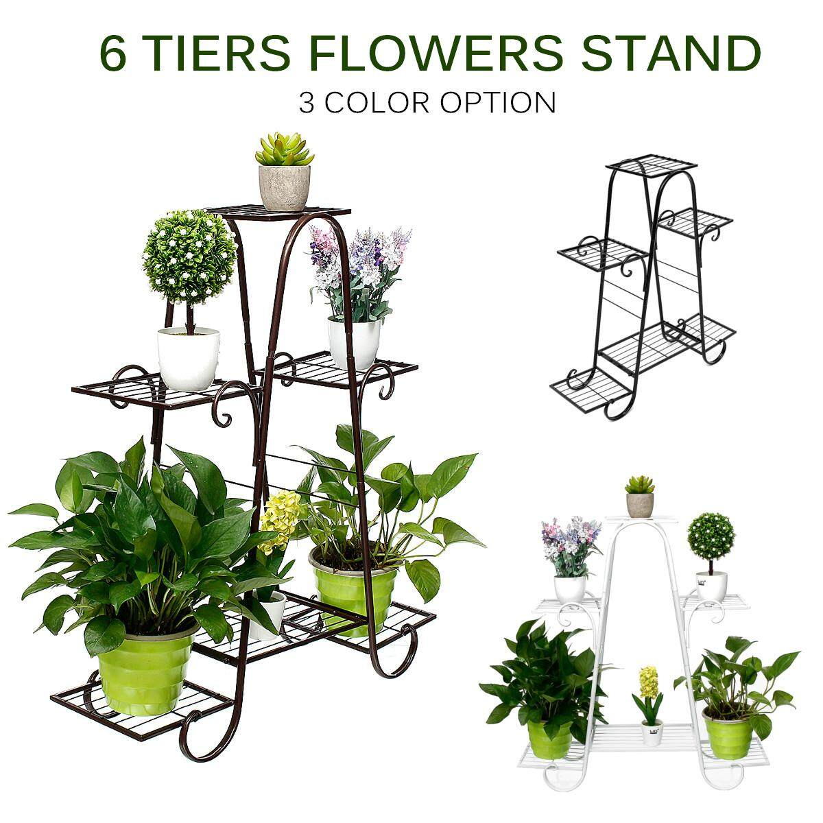 6 Layers Retro Iron Flower Stand Pot Plant Display Shelves Home Garden Decor