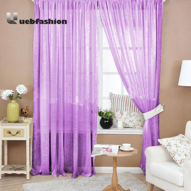 Uebfashion 1pcs Valances Colors Floral Tulle Voile Door Window Curtain Dark Coffee Intl Note You May Need 2pcs Lazada