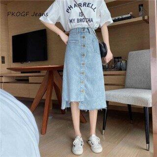 Chân váy denim da bò lưng cao dáng chữ A có đính khuy mỏng thích hợp cho nữ sinh mặc trong mùa hè - INTL thumbnail