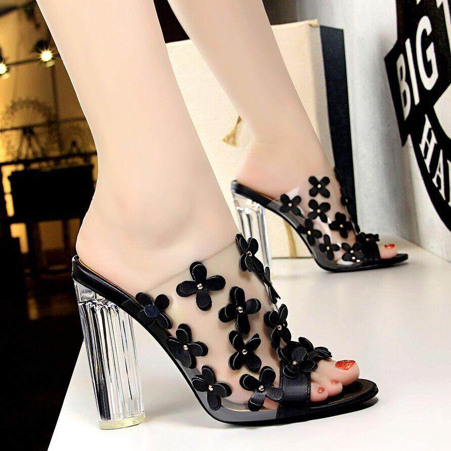 93ae6d793aa42 Fashion 3.74 inches High Heels Sandals for Women Transparent Block Heel  Mules Pumps Ladies Flowers Peep