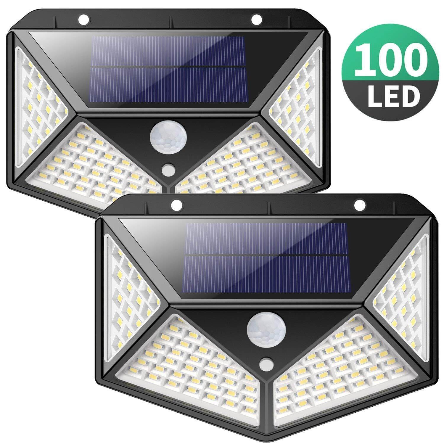Solar Lights Outdoor,【270º Four-Angle Lighting-2 Pack】iPosible 100 LED Solar Security Light with Motion Sensor Solar Waterproof Wall Light with 3 Modes for Garden,Outside