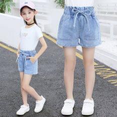 Quần short denim cho bé gái 110-160cm quần Jean trẻ em Quần lửng cạp cao