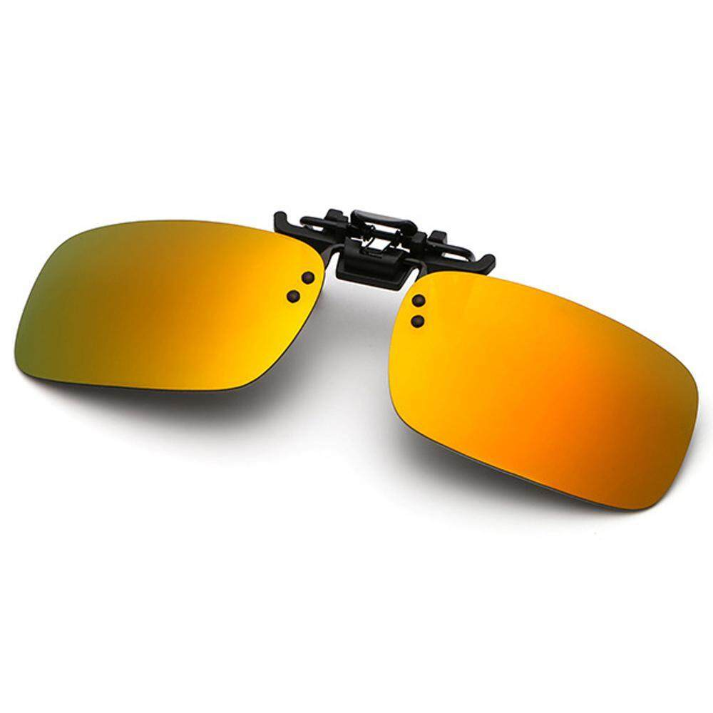 f9a7c3847a614 SilyNew 1Pair Sunglasses Clip On Flip Up Night Vision Glasses Anti Glare  Polarized for Men Women
