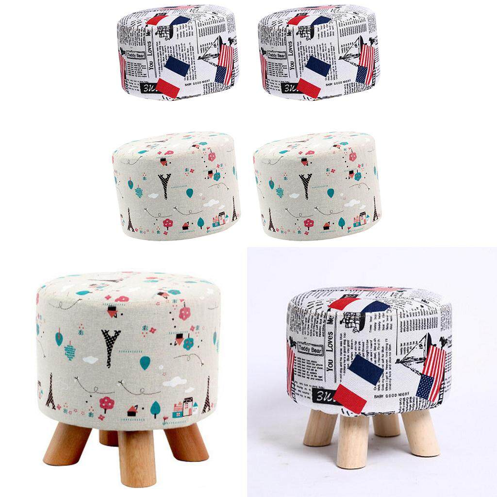 BolehDeals 4 Pieces Round Linen Fabric Footstool Cover Wooden Stool Slipcover 28x18cm
