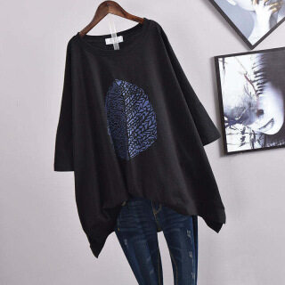 Áo thun nữ to hơn bình thường 100Kg Áo thun tay ngắn in hình thời trang quần áo người béo áo thun nữ oversize áo thun nữ quần áo 40 áo thun nữ thumbnail