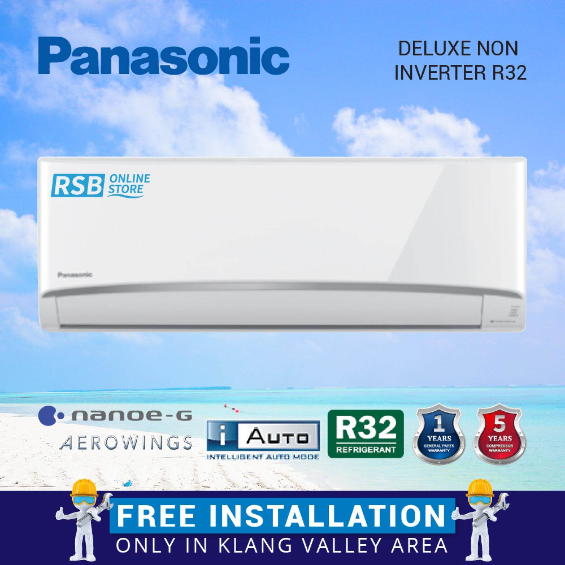 Free Installation Panasonic Air Conditioner Deluxe Non Inverter R32 2.5HP CS-N24VKH_FI + I-Auto + R32 Refrigerent + Aerowings + Nanoe-G