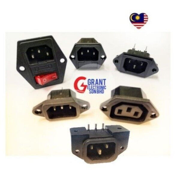 ♈  15A AC250V 3 Pin IEC320 C14 Male  Female Chassic AC Socket Power Socket with Fuse Switch 10A 250V