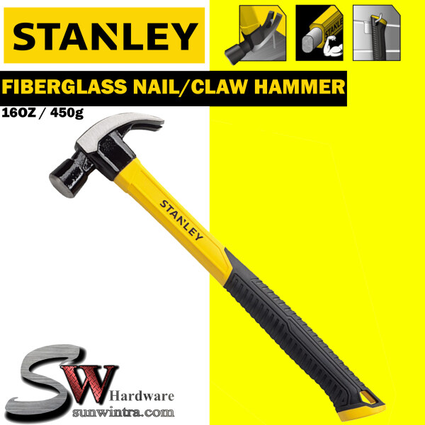 STANLEY FIBERGLASS NAIL HAMMER / CLAW HAMMER 16OZ/450g #STHT51391