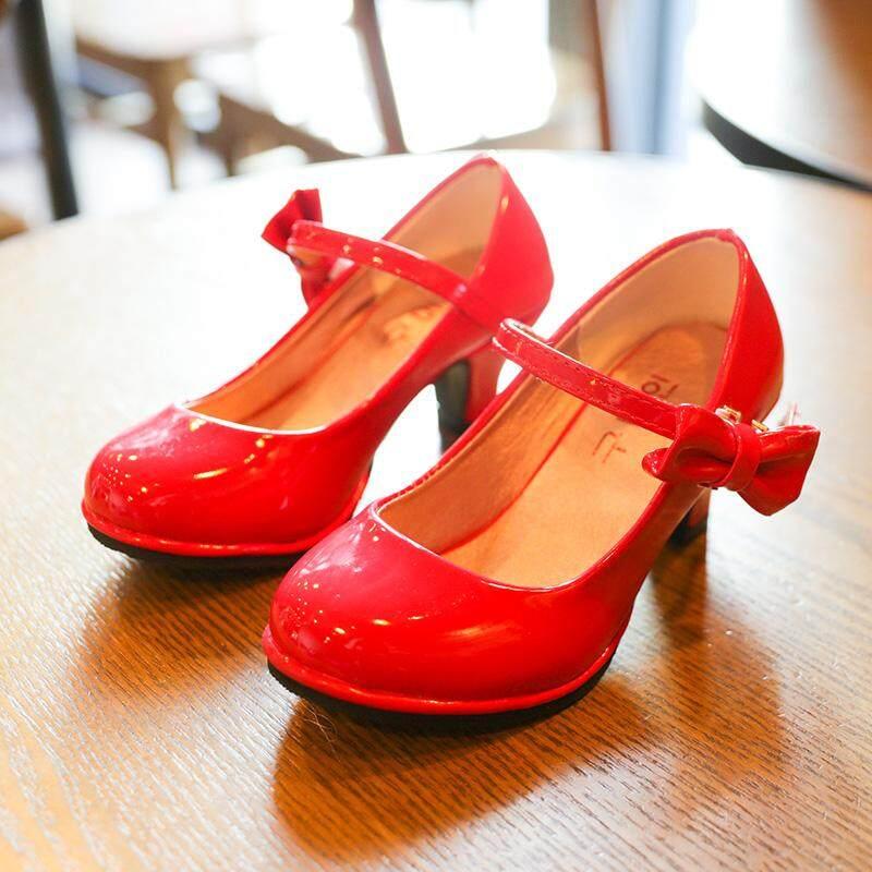 Bekanille Bé Gái Giày Da Thu Bowtie Giày Sandal 2018 Trẻ Em Mới Giày Giày Cao Gót Công Chúa Ngọt Xăng Đan