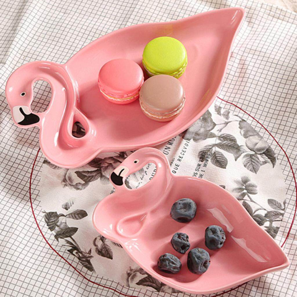 Perfk 2pcs Flamingo Decoration Pink 3D Ceramic Plate Snacks Dried Fruit Plates Fruit Bowl Dessert Dishes Dinnerware