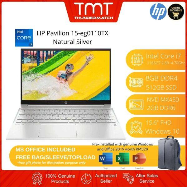 HP Pavilion 15-eg0110TX Silver Laptop | i7-1165G7 | 8GB RAM 512GB SSD | 15.6 FHD | MX450 | W10 | MS OFFICE + BAG Malaysia