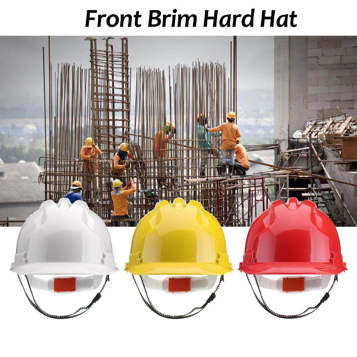 ABS Construction Advantage Safety Helmet Front Brim Hard Hat Vented Work Protect Cap - White