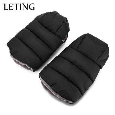 LETING Baby Stroller Warmer Water Resistance Plush Pushchair Pram Cart Gloves (BLACK)