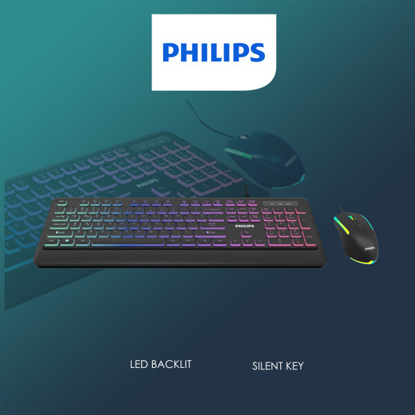 PHILIPS Momentum Series Elegant LED Full-Size Silent USB Keyboard and RGB Light FX Gaming 3-Button Mouse Combo, Low-Profile, Lightweight, Spill- & Scratch-Resistant for Home & Office (Model- G294 / SPT8294) Malaysia