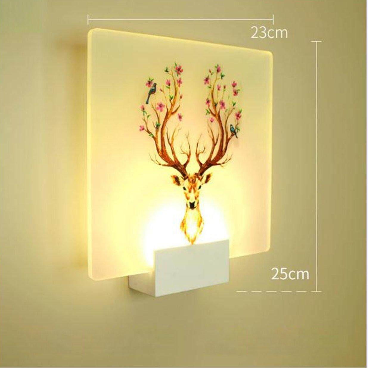KAKA Bedside Light Deer Shape Wall Lamp Household Beautiful Light