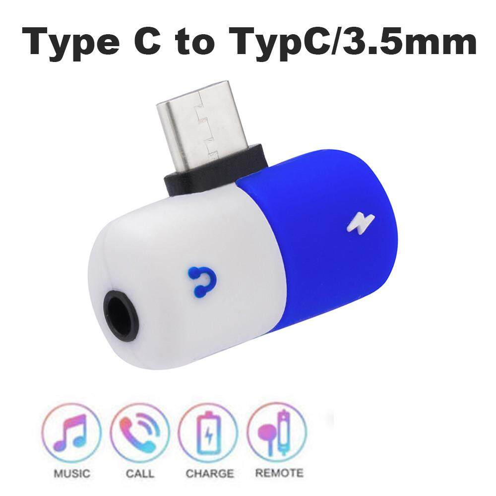 Wireless Adapter Portable Audio & Video Splitter Type C Capsule Pill Shape Fast Lighting Charging To Earphone 3.5mm Audio Cable Charger Adapter For Samsung