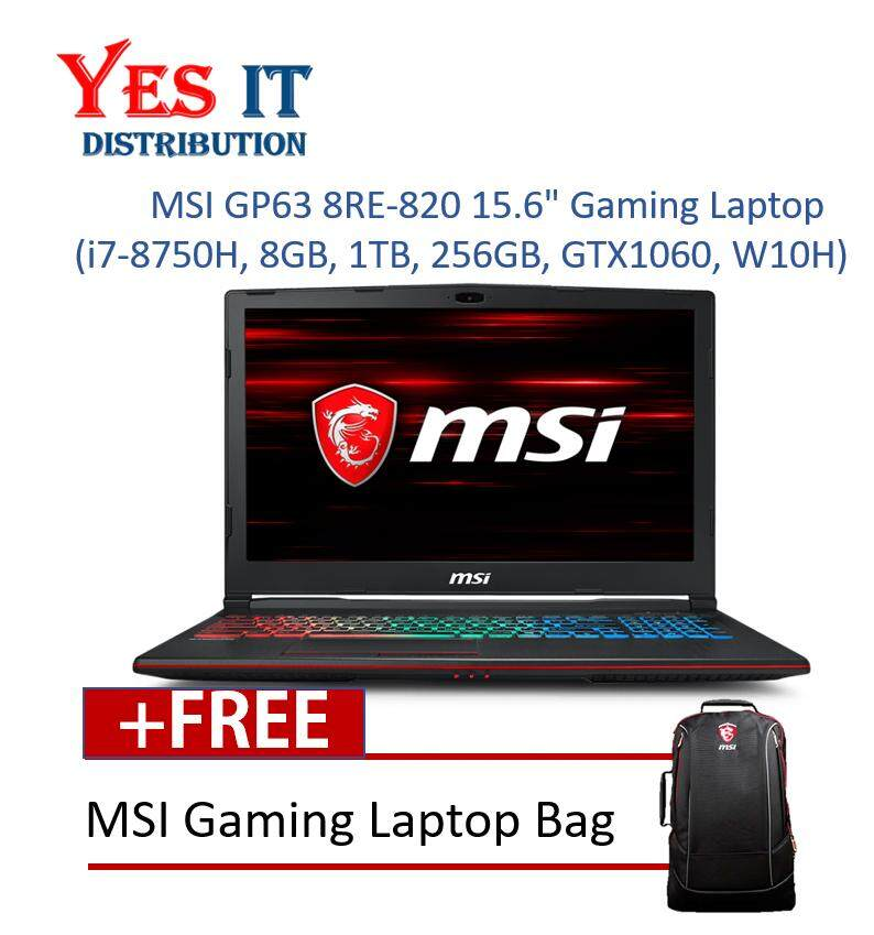 MSI GP63 8RE-820 15.6 Gaming Laptop (i7-8750H, 8GB, 1TB, 256GB, NV GTX1060, W10H) Malaysia