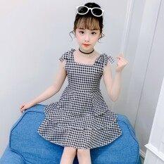 Quần Áo Trẻ Em Lớn Hơn Cô Gái Ăn Mặc Treo Váy Kẻ Sọc