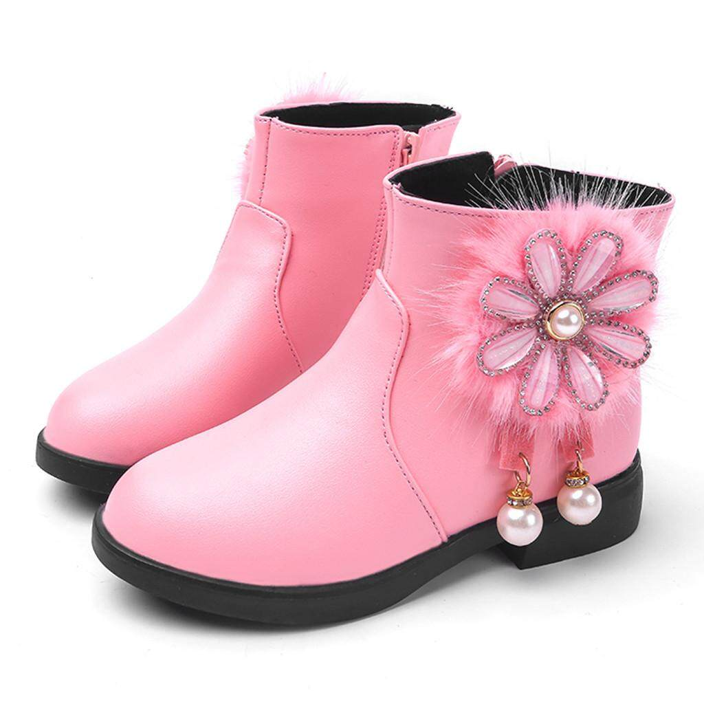 Liuyehumall Bé Gái Giày Trẻ Sơ Sinh Trẻ Em Công Chúa Cho Bé Ngọc Trai Hoa Giày Da Mùa Đông Boot