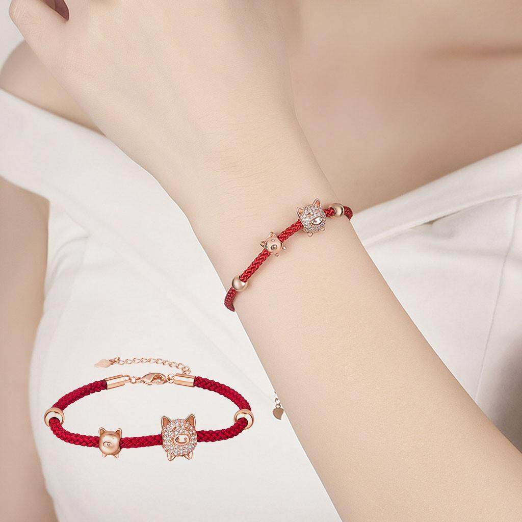 20d254e30 2019 The Birth Year Bracelet Pig Bangle Zodiac Red Rope Chain Friend Couple  Gift