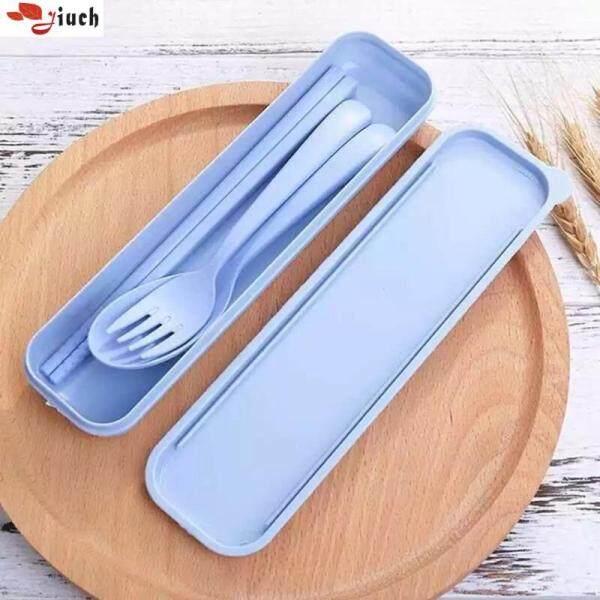 Jiuch 3 in 1 Cute Food Grade Wheat Straw Long Handle Fork Spoon Chopsticks Cutlery Travel Set