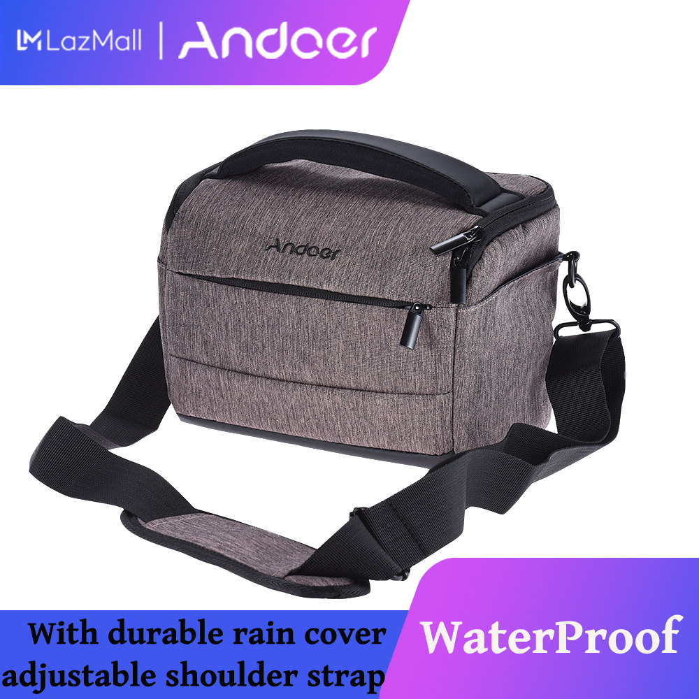 Andoer Cuboid-Shaped Dslr Camera Shoulder Bag Portable Fashion Polyester Camera Case For 1 Camera 2 Lenses And Small Accessories For Canon Nikon Sony Fujifilm Olympus Panasonic.