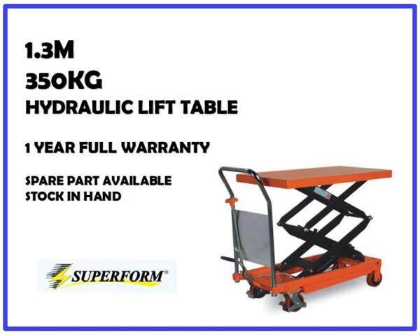 350kg, 1.3m Hydraulic Table Truck Multi-function Steel Trolley Lift Table Manual Lift Table Scissor Lift Table Trolley Heavy Duty | 1 Year FULL Warranty