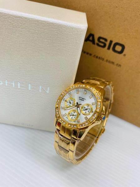 Women Watch Casio_Sheen Diamond Gold White Ladies Watch Stainless Steel With Box Malaysia