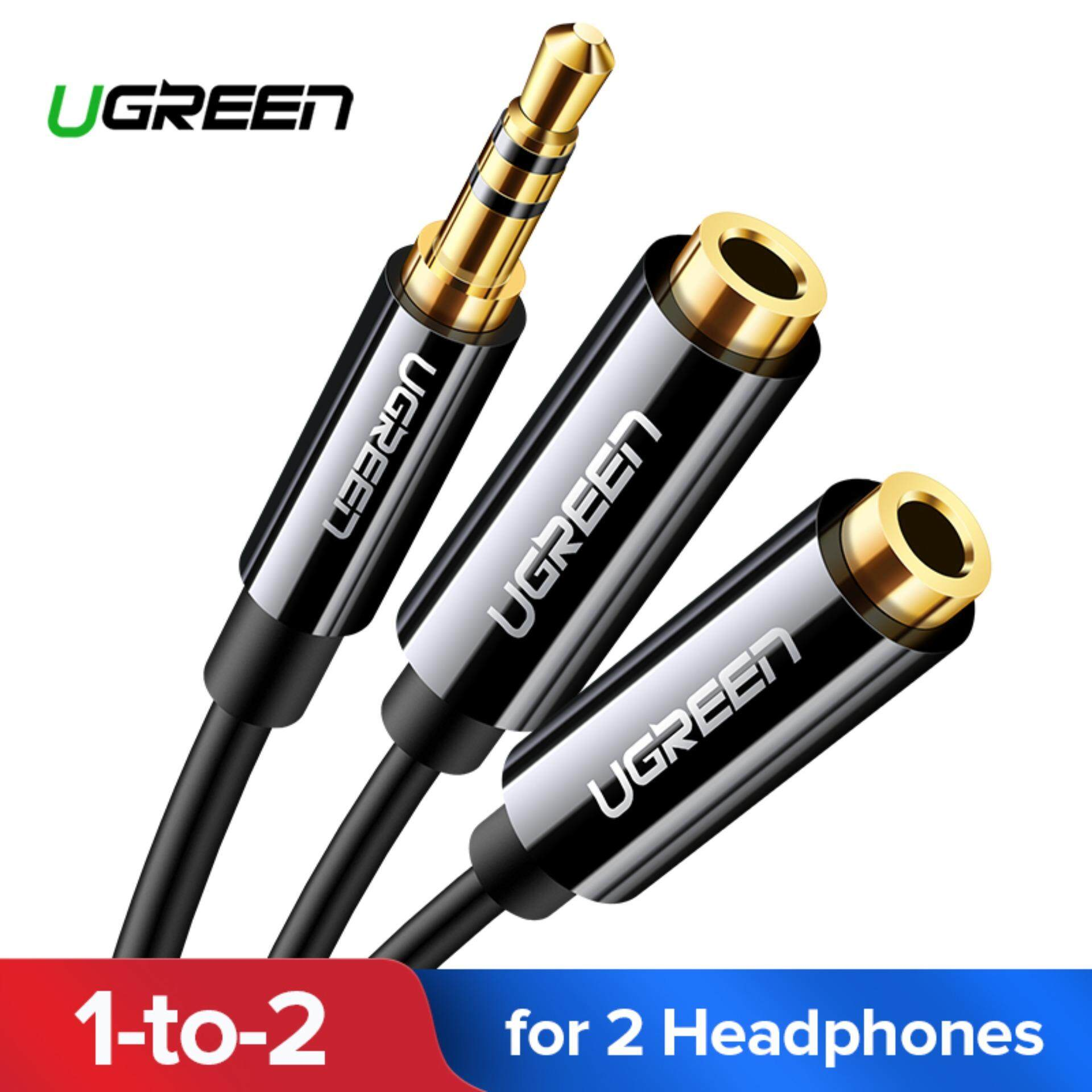 Ugreen 3.5mm Jack Earphone Audio Splitter Adapter 1 Male To 2 Female Extension Aux Cable For Car Mp3/4 Cd Player Black By Ugreen Flagship Store.