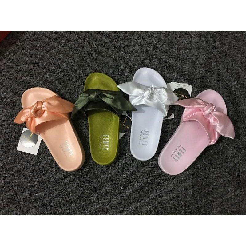 In stock  Puma X Fenty Bandana Slide Ribbon Bow Pink Slippe 21b5f2267