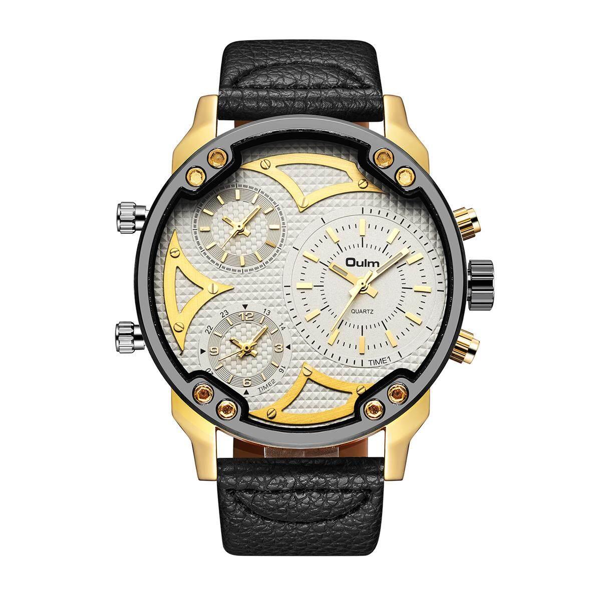 Whatsko Oulm 56 Mm Muka Arloji Besar Pria's Watch Tentara Militer Kuarsa Jam Olahraga Tali Ikat Baja Anti Karat Jam Tangan untuk Pria HP3548