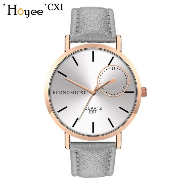 Hoyee Men Analog Quartz Watch Simple Round Dial with PU Leather Band Malaysia