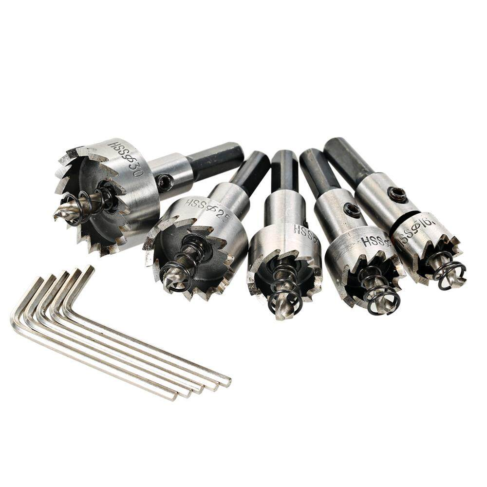 5PCS High Speed Steel Hole Saw Cutter Tool Saw Tooth HSS Drill Bits Set 16/18.5/20/25/30mm Power Drilling Tools