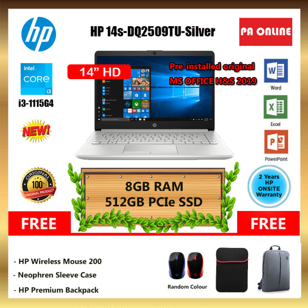 HP 14S-DQ2509TU -(24GB RAM)- Intel Core i3-1115G4 /8GB-24GB /512GB SSD /14 HD LED /Intel UHD /Win 10 /MS Office /2 Years Malaysia