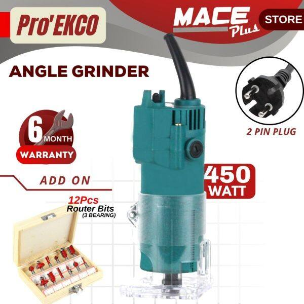 COMBO ProEkco GMR22 220V Electric Hand Wood Trimmer + 12 / 6 Router Bit Carving Slotting Woodworking Pemotong Kayu