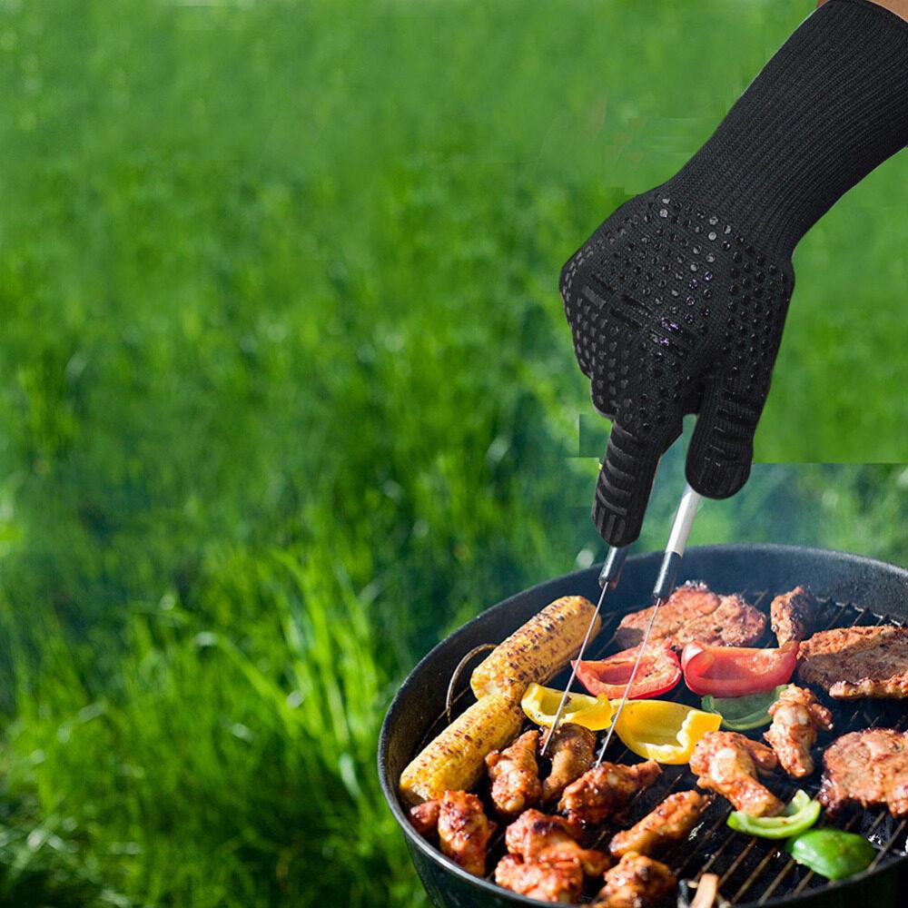 BBQ Găng Tay 300-500 Độ C Nhiệt Độ Cao Chống Lót Cotton Lò Nấu Chống Cháy Chống Bỏng Như thịt Nướng Công Việc Găng Tay