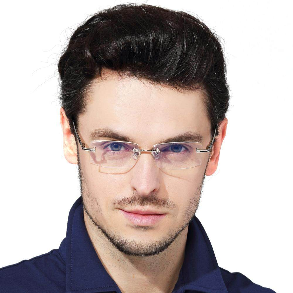 Shuaidi Rimless Men Glasses Anti Blue Rays Radiation Computer Optical Resin Clear Transparent Lens Frameless Eyeglasses By Freebang.